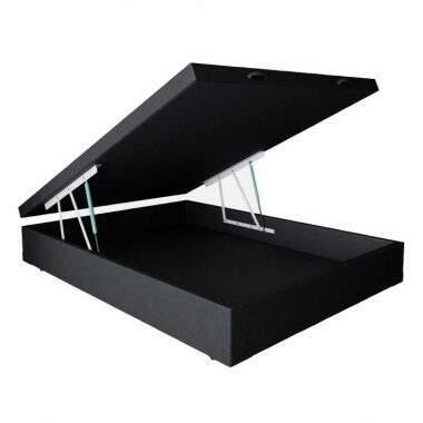 Base para Cama Box Casal Premium com Baú Corino (47x138x188) Preta